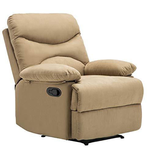 mecor Komfort Massagesessel Relaxsessel Heizungfunktion 8 Vibrationsmassagepunkte mit Fernbedienung Liegefunktion High-End-Mikrofaser/Hellbraun