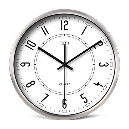 Everyday home Horloge murale avec cadre en métal Muet Silencieux Facile à lire Horloge à quartz à design numérique (Couleur : Silver, taille : 12 pouces)