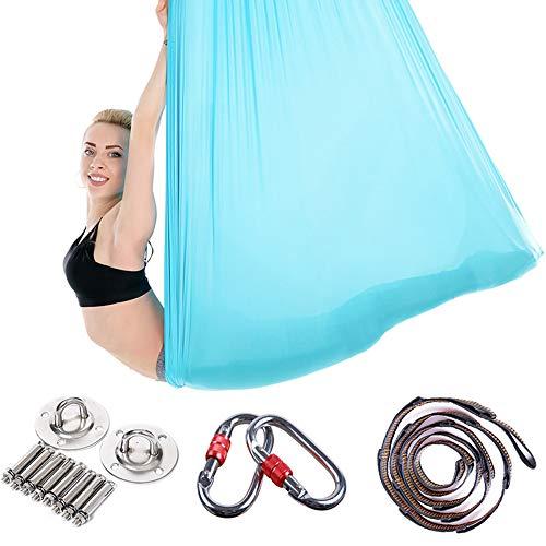 ZJY 5m x 2,8m Aerial Yoga Hängematte, Inversion Pilates Seidenstoff, Antigravity Trapeze 2000 lbs Last – mit Karabiner, Daisy Chain – für Home Gym Bodybuilding