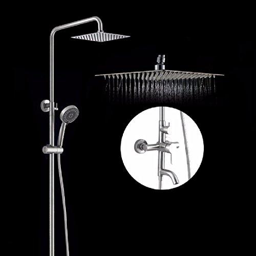KHSKX Oversize in acciaio inox doccia, vasca da bagno doccia con set doccia, doccia a getto,8 pollici un
