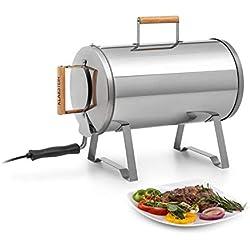 Klarstein Gourmet Barrel Smoker Fumoir • Matériau: inox avec 0,6 mm • Poignées en bois résistantes à la chaleur • Concept Plug & Play • avec grille de fumage, bac à huile et à copeaux de bois • argent