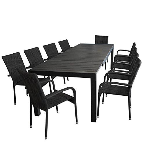 11tlg. Gartengarnitur - Gartentisch ausziehbar 205/275x100cm, Polywood Tischplatte + 10x Stapelstuhl,Polyrattanbespannung - schwarz / Sitzgarnitur Sitzgruppe Gartenmöbel Terrassenmöbel