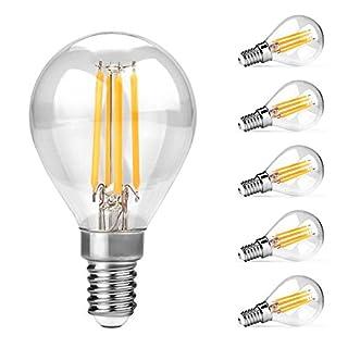 Ascher 5er Pack E14 LED Lampe, 450LM, 4W, Ersatz für 40W Halogenlampen,LED Birne als Kolbenlampe, Klar,G45 LED Mini Globe , Nicht Dimmbar, Warmweiß 2700K