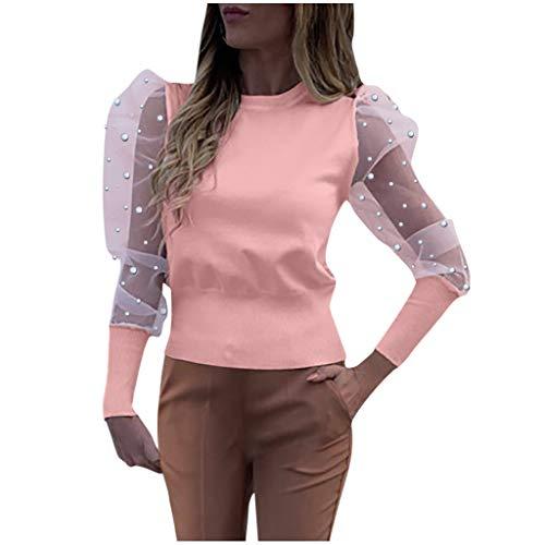 XNBZW Damen Lässige Bluse Frauen Oansatz Laterne Ärmel Perspektive Künstliche Perle Mesh Ärmel Beiläufige Lose Spitze Bluse(Rosa,DE:42/2XL)