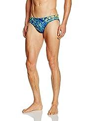 Miws Circus - Bañador de natación para hombre, color azul/amarillo/rojo, talla S