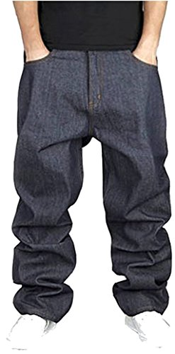 Pizoff Herren Hip Hop Hipster Style Baggy Jeans Rap Denim mit Stickerei Muster j9001-3-46-Black