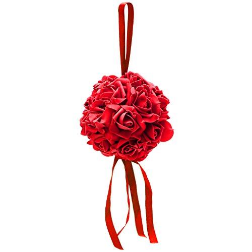 LANDUM Küssender Pomander-Kugel, Rosen, Blumen, Form Kugel, rot, 15 cm