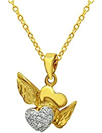 Mahi Valentine's Day Gift Love Heart Freedom Gold Plated Pendant With CZ For Women PS1101601G