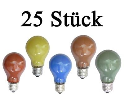 netSells® * 25 Stück Glühlampen farbig gemischt * E27 / 25 W * matt * z. B. für Party- u. Biergartenbeleuchtung