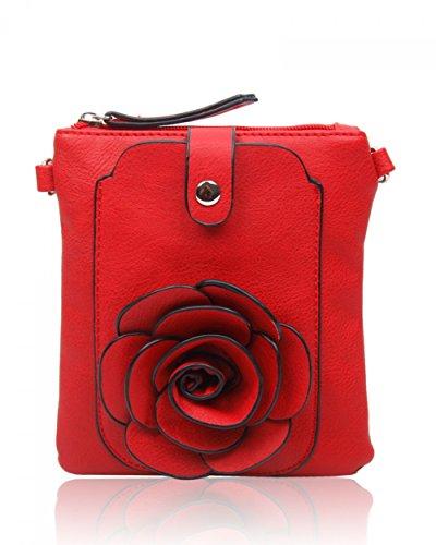 LeahWard® MINI Größe!!! Damen Mode Essener Blume Umhängetasche Qualität Kunstleder Bote Party Tasche Handtasche CWF003 CWF5348 Mohn Red