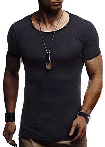 LEIF NELSON Herren Sommer T-Shirt Rundhals-Ausschnitt Slim Fit Baumwolle-Anteil | Moderner Männer T-Shirt Crew Neck Hoodie-Sweatshirt Kurzarm lang | LN6281 Schwarz Small -