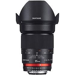 Samyang SAM35CANON_AE Objectif pour Appareil photo reflex numérique Canon f/1,4 AS UMC 35 mm Noir