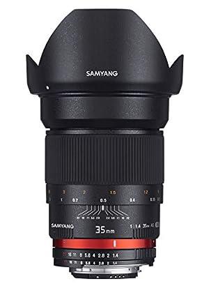Samyang F1111001102 - Objetivo fotográfico DSLR para Canon AE (distancia focal fija 35mm, apertura f/1.4-22 AS UMC, diámetro filtro: 77mm), negro
