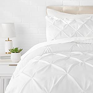 AmazonBasics Pinch Pleat Comforter Set - 155 x 220 cm, Bright White