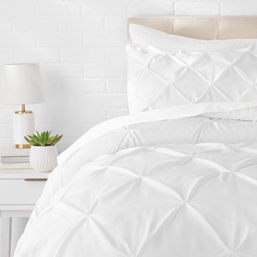 AmazonBasics - Bettgarnitur mit Quetschfalten, 140 x 200 cm, Weiß