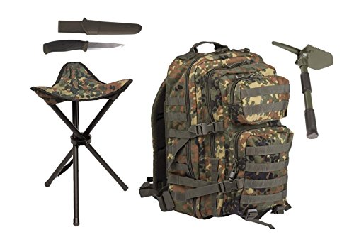 AOS-Outdoor Survival ANGLERSERT 4 Teile Assault LARGE Dreibein Messer Köderspaten flecktarn