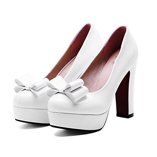 VogueZone009 Femme Rond à Talon Haut Couleur Unie Tire Chaussures Légeres Blanc