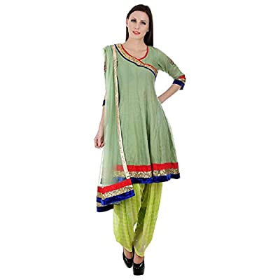 Devaleena Creations Green Chanderi Short Anarkali-Peacock embroidery on the sleeves for Ladies