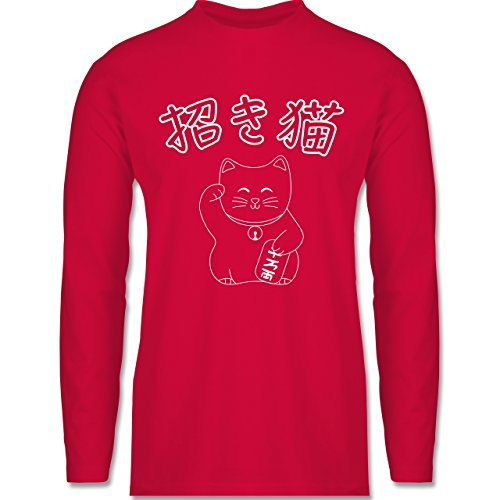 Katzen - Winkekatze- Japanisch - Longsleeve / langärmeliges T-Shirt für Herren Rot