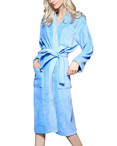 Bata de Microfibra Unisex Adultos Pijama Ropa con Dormir Longitud Albornoz Azul L