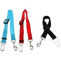 TOOGOO(R) 3X Perro Gato Mascota del coche de seguridad del cinturon de seguridad del arnes de sujecion plomo Collar Viajes Ajustable - Azul Rojo