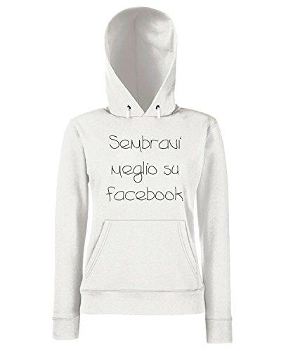 T-Shirtshock - Sweats a capuche Femme TDM00248 sembravi meglio su facebook Blanc