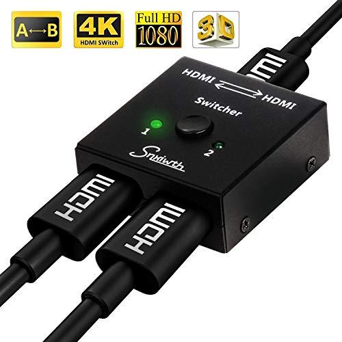 Snxiwth HDMI Switch 4K ab Bidirektionaler 2 in 1 Out und 1 in 2 Out für HDTV/Blu-Ray Player/DVD/DVR/Xbox/PS4 usw.