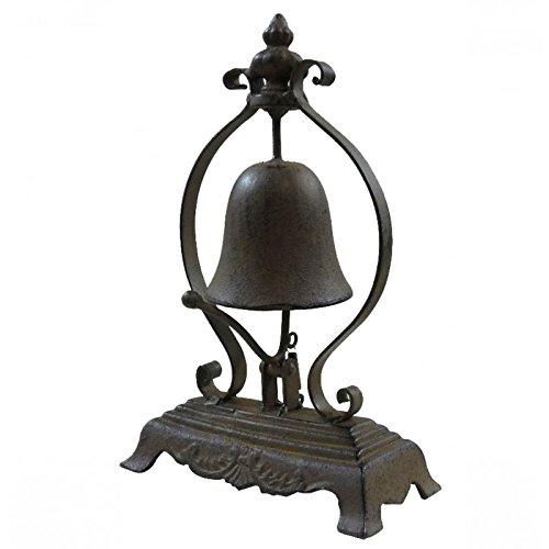 Campanellino di bancone o Espositore a campana campanello da tavolo in Ghisa patinée Marrone 8,5x 17x 26,5cm