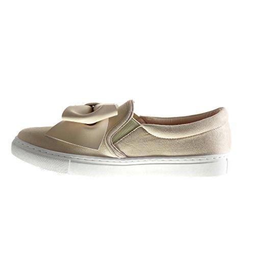 Angkorly Damen Schuhe Sneaker - Slip-On - Fliege Flache Ferse 2 cm Beige