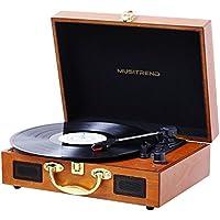 MUSITREND Platine Vinyle Bluetooth, Retro Portable Tourne-Disque, Trois Vitesse 33/45/78 avec Haut-Parleur Intégré, Bois Marron