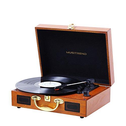 MUSITREND Platine Vinyle, Retro Portable Tourne-Disque, Trois Vitesse 33/45/78 avec Haut-Parleur Intégré, Bois...