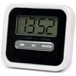 TRIXES - Cronómetro digital de cocina (con alarma, temporizador, función de cuenta atrás, imán, soporte y pitido de aviso)