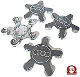UG 4x Leichtmetallräder Plakette mittig Radkappen Ersatzkappen für Audi Farbe Grau. 135mm, 4F0601165N, A2 A4 A5 A6 A7 A8 Q5 Q7 S Line, All Road und andere Modelle