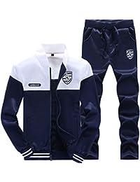 LaoZanA Hombre Chándal 2 Piezas Conjuntos Deportivos Pantalones + Chaquetas Sweatshirt Blanco 2XL