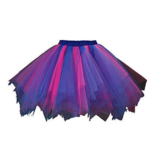 utu Unterkleid Rock Abschlussball Abend Gelegenheit Zubehör Rötlich-Blau und Fuchsie A520626120110 (Rocker-mädchen Halloween-kostüm)