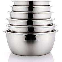 MXJ61 Olla de acero inoxidable Mezcla de lavabo Hogar lavado verduras Ollas Sopa de lavabo 6 piezas / Set