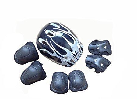 Sitz Fahrrad Jugend (1Set (7) schwarz Rollerskaten Schützen Handgelenk Ellenbogen Knie Pads Gear Sport Kombination Schutz Pads mit Helm für Kinder/Kind Roller Skate Fahrrad BMX Fahrrad Skateboard Extreme Sports)