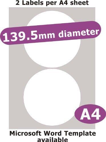 139.5mm diametro rotondo , 10 Etichette , Opaco Cartoncino Bianco , 5 A4 Fogli , Laser Copiatrice Getto d'inchiostro Adesivi