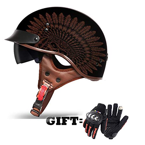MMGIRLS Vintage Harley Half Helm, 3/4 Open Face Motorrad Helm Männer und Frauen Persönlichkeit Motor Car Helm DOT Standard Geschenk Handschuhe - Indian,XL - Motorrad Indian Handschuhe