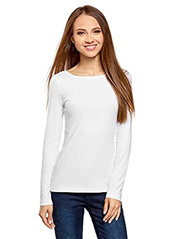 oodji Collection Femme T-Shirt Manches Longues, Blanc, FR 40 /
