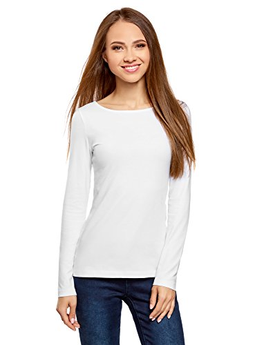 oodji Collection Damen Langarmshirt, Weiß, DE 38 / EU 40 / M