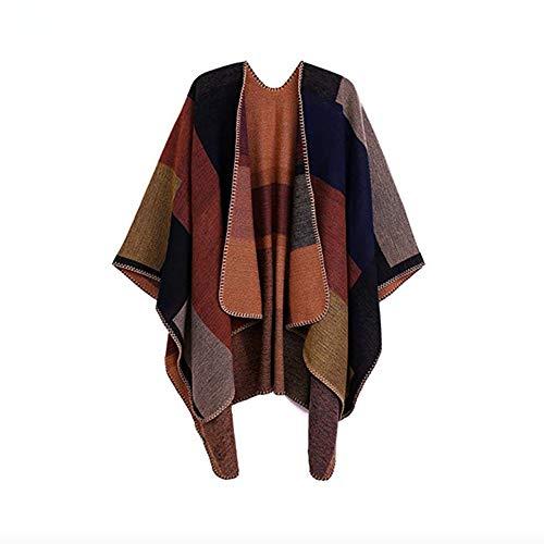 Damen gedruckt Poncho Cape, Damen Tücher und Wickel, Poncho Schal für Frauen Wrap Color Block Open Front Cape übergroßen Winterdecke (Khaki)