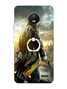 Go Hooked Soft Printed Back Cover with Finger Ring stand for Motorola Moto E4 | Motorola Moto E4 Printed back cover | Back Cover for Motorola Moto E4