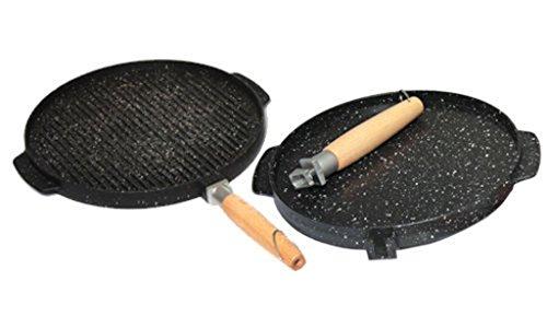 Sirio double face grill tondo, alluminio pressofuso, nero, 28 cm