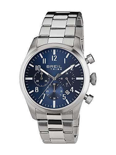 Orologio breil uomo classic elegance quadrante mono-colore blu movimento chrono quarzo e bracciale acciaio ew0226
