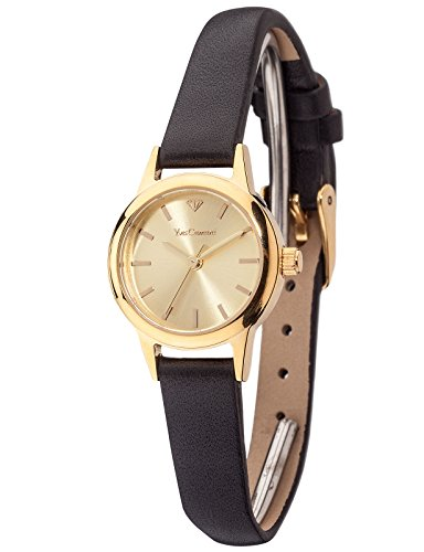 Yves Camani Gardanne - Reloj de cuarzo para mujeres, con correa de cuero de color negro, esfera dorada