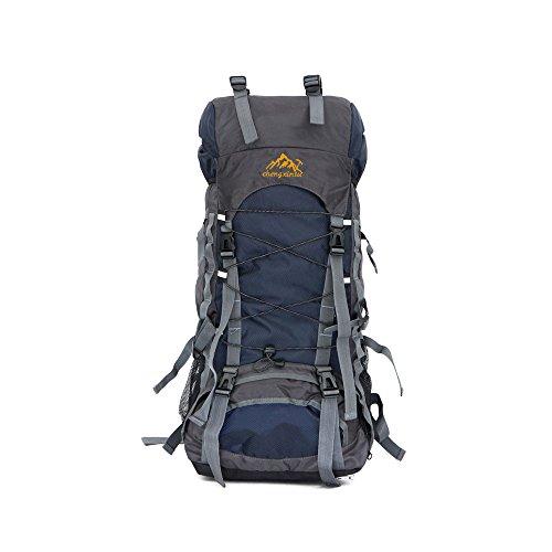 SunDay 60L Impermeabile escursionismo backpacking Trekking Borsa per l'arrampicata, il campeggio, trekking, alpinismo e viaggi Dark Blue