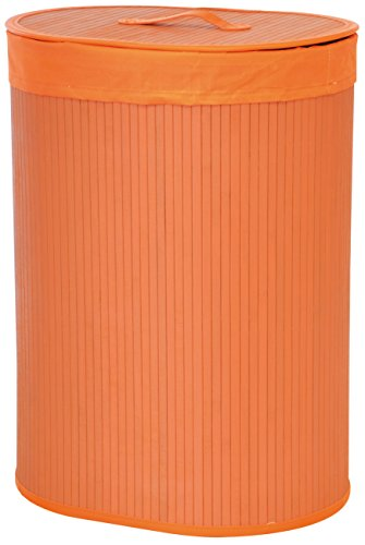 Portabiancheria pieghevole in bambu' di forma ovale, color arancione. dimensioni cm 42 x 30 h 58
