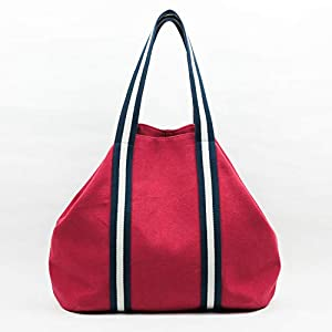 Große Tasche rot, Frau, gestreifte Griffe, für den Strand, Wochenende, Tag für Tag, Einkaufen, in Baumwoll-Canvas und mit Innentaschen