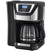 Russell Hobbs 22000-56 Chester Grind und Brew Digitale Glas-Kaffeemaschine, Quiet-Brew-Technologie, integriertes Mahlwerk, programmierbarer Timer